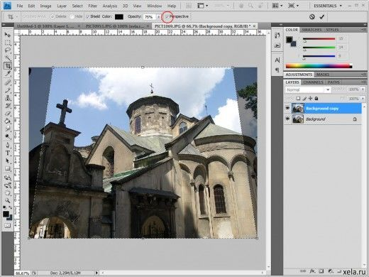 Как сделать в фотошопе перспективу