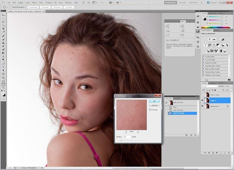 Ретушь недостатков кожи в photoshop